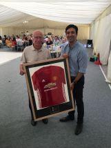 The winning bid for Sir Bobby Charlton's shirt, Mr Adeel Ikram.